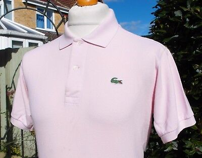 Lacoste Soft Pink Pique Cotton Polo - M/L - Size 4 - Mod Ska Scooter Casuals