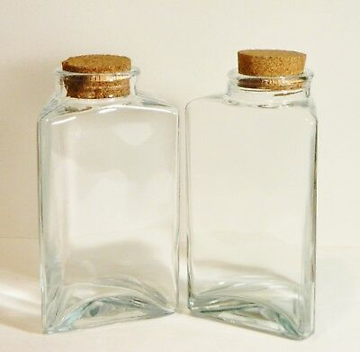 Apothecary Jars/Clear Glass Canisters/Triangle Shaped/Cork Lid/Storage/Set 2