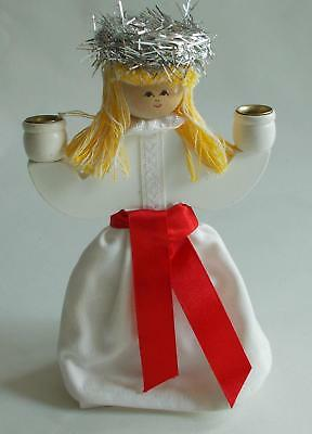 Swedish Xmas: Handmade wood/textile/metal Lucia girl candleholder for 2 candles