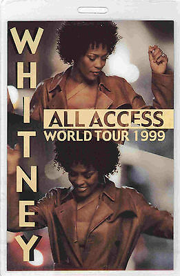 *** WHITNEY HOUSTON ***  LAMINATED BACKSTAGE PASS - World Tour 1999 - ALL ACCESS