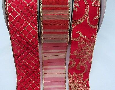 Christmas Red/ Gold  Wired Wire Edge  Ribbon 63Mm Wide 5M 10M