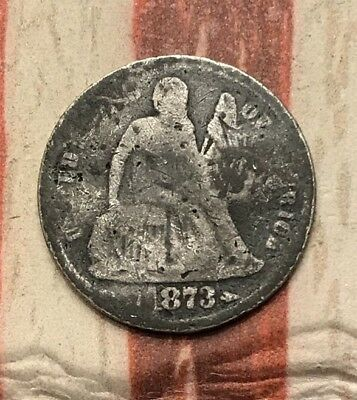1873 10C Seated Liberty Dime 90% Silver Vintage US Coin #FD12