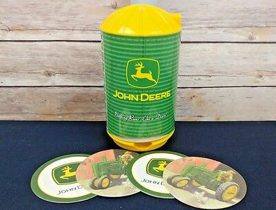 John Deere Plastic Silo Coaster Dispenser With 56 Drink Coasters in 2 Designs