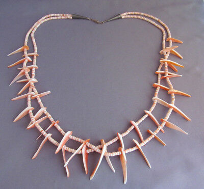Vintage Old Pawn Long Sterling Double Multi Strand Coral Bead Shell Necklace