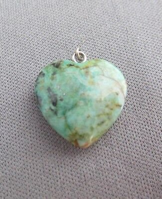 Vintage Old Pawn Solid Love Heart Green Turquoise Pendant Charm 2.4G