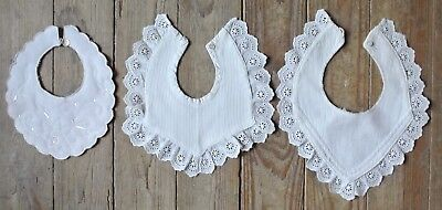 Vintage Baby's Bib Collar Hand Embroidered Linen Cotton Lot of 3