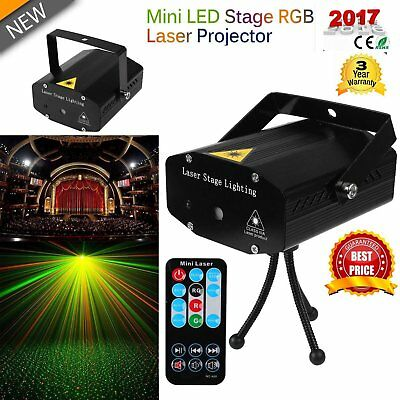Christmas LED Stage laser Light Red & Green Star Projector Strobe DJ Party UK