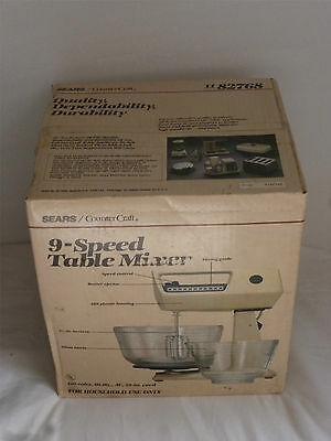 Rare Vintage USA Sears Counter Craft 120-Volts 9-Speed Table Mixer 82768 NEW