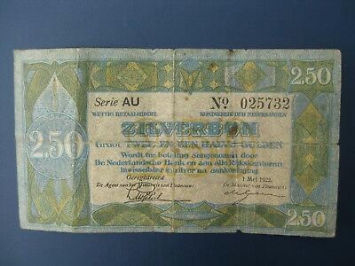 Early Year 1922 Netherlands 2.50 Gulden Banknote Vg