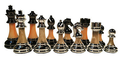 "Classic Staunton Metal & Marbled Acrylic Chess Pieces - 3.5"" King"
