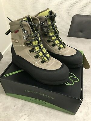 Vision Hopper Wading Boots Felt Sole Tungsten Studded Size 10