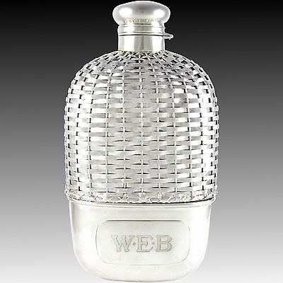 Large Antique Gorham Sterling Silver Basket Weave 1pt Whiskey Spirits Hip Flask