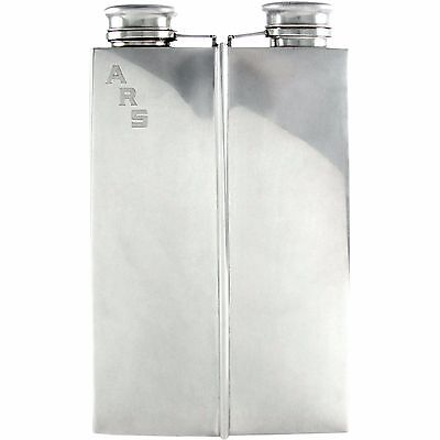 Art Deco Prohibition Era Sterling Silver 2pt Whiskey Spirits Hip Flask 743g
