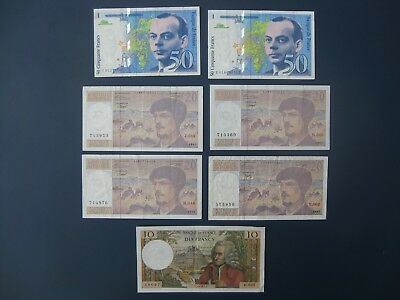 7No. 1971-94 FRANCE 10/20/50 FRANCS BANKNOTE COLLECTION CRISP VF-GVF