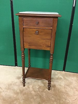 Antique French Pitch Pine Bedside Cabinet With Marble Top