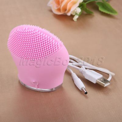Pink Silicone Electric Face Cleaning Massage Brush Cleaner Ultrasonic Skin Care
