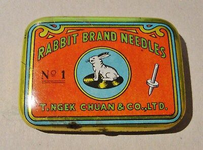"1930s TIN of APROX 100 ""RABBIT BRAND"" 78rpm GRAMOPHONE NEEDLES in excellent cndt"