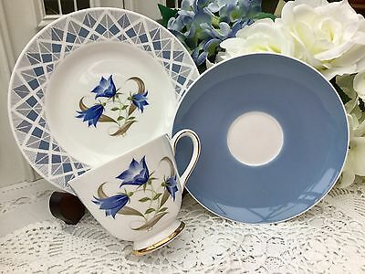 TUSCAN 1950s FINE ENGLISH BONE CHINA TRIO CUP SAUCER PLATE SET HAREBELL SCOTTISH