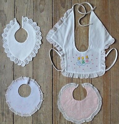 Vintage Baby's Bib Collar Hand Embroidered Linen Cotton Lot of 4 Bear Pink Lace