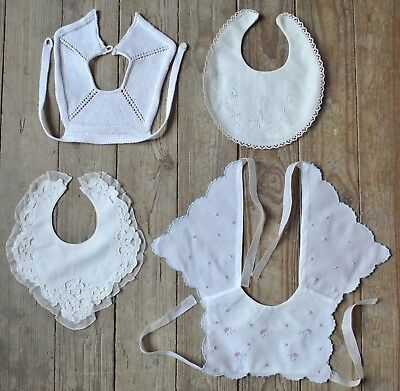 Vintage Baby's Bib Collar Hand Embroidered Linen Cotton Lot of 4 Lace Tulips