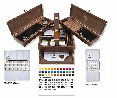 Schmincke Horadam Artists Watercolour Whole & Half Pan Wooden Box Set - 74724097
