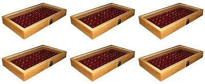 6 Natural Wood Glass Top Lid Burgundy 72 Ring Jewelry Display Storage Box Cases