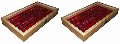 2 Natural Wood Glass Top Lid Red Cufflinks Jewelry Display Storage Box Cases