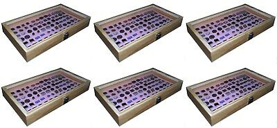 6 Natural Wood Glass Top Lid Pink Cufflinks Jewelry Display Storage Box Cases
