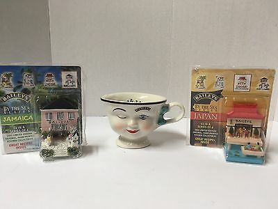 Lot Of 3 Baileys Coffee Collectibles Winking Tea Cup & By The Sea Figurines