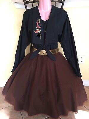 Square Dance Black Western Top & Brown Skirt- Small