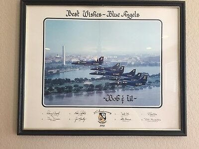 Blue Angels 35th Anniversary 1981 Signed Framed Photo Poster 21 x 17 Wash DC