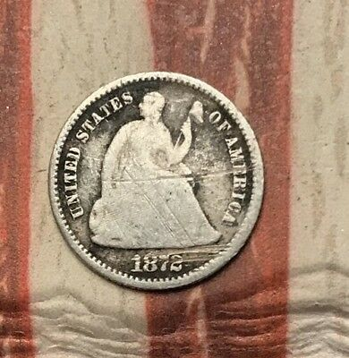 1872 5C Seated Liberty Half Dime 90% Silver Vintage US Coin #FD34