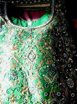 Womens Asian fancy shalwar kamiz with dupatta, and a green dress party suit.
