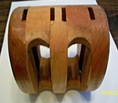 """Vintage 6 1/4"""" Tall X 4 3/4"""" Oak, Double Pulley Block In Nice Cond. Lowered $10!"""