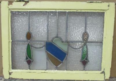 """MID SIZED OLD ENGLISH LEADED STAINED GLASS WINDOW Abstract Shield 24.5"""" x 18"""""""