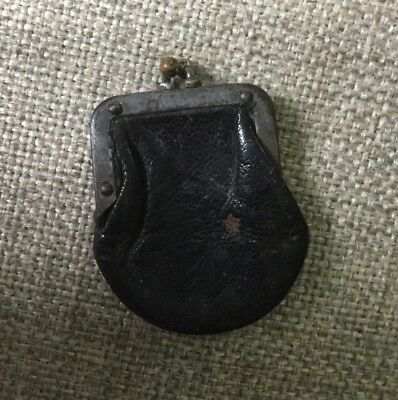 Miniature Leather Coin Purse With Snap Closure Antique VTG RARE!