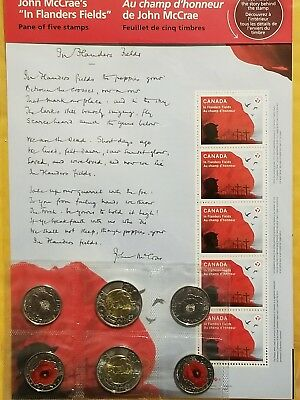 FLANDERS FIELD STAMPS AND COINS JOHN McCRAE COIN AND POPPY COINS MINT CONDITION