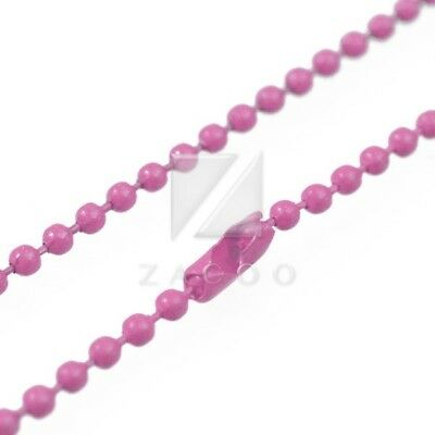 1 Strand 70cm/28inch U Pick Ball Chain Necklace Bead Connector 1.5mm Pink