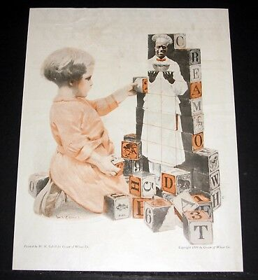 1919 Old Magazine Print Ad, Cream Of Wheat Cereal, W.v. Cahill Toy Blocks Art!