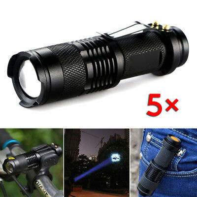 5 X Zoom Flashlight Flash light CREE Q5 LED Torch Tactical Portable Focus Lamps