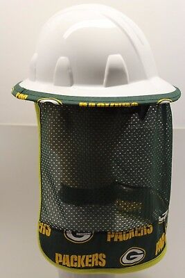 Hard Hat Neck Shade Protector Quick Dry Mesh made of Green Bay Packers Fabric