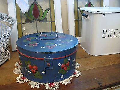 Antique FRIES Biscuit Metal Tin Bread Box Blue French Country Strawberry 12x6