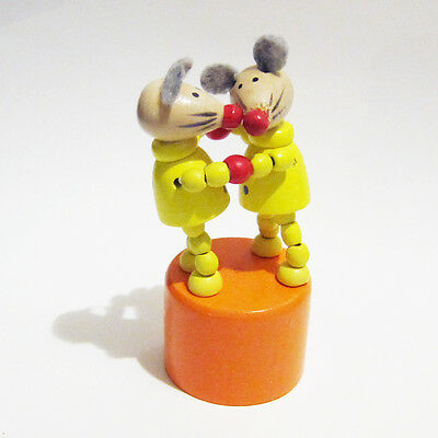 Classic Wooden Toy Push Puppet Dancing MICE Dance Mouse Orange Yellow Felt Ears