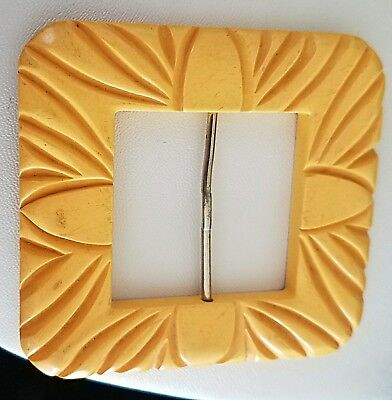 Stunning Rare Retro Vintage Yellow Carved Bakelite Belt Buckle Jewelry Tested