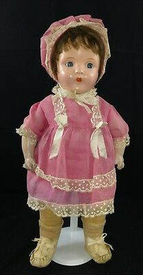 """VINTAGE IDEAL COMPOSITION & CLOTH DOLL 16"""" W/TIN EYES, ORIGINAL OUTFIT 1930s"""