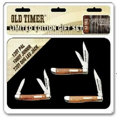 """SCHRADE/OLD TIMER """"2017""""- 3 pcs. WOOD HANDLE KNIFE SET with LIMITED EDITION TIN"""
