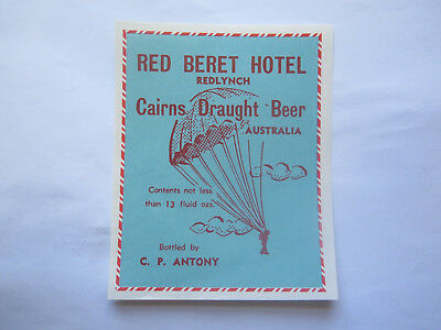RED BERET HOTEL REDLYNCH CAIRNS DRAUGHT BEER LABEL 1950s QUEENSLAND 13 FL OZS