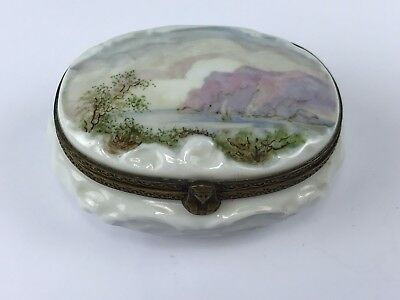 Signed G 19th Century Porcelain Decorated Box Hand Painted Landscape Scene