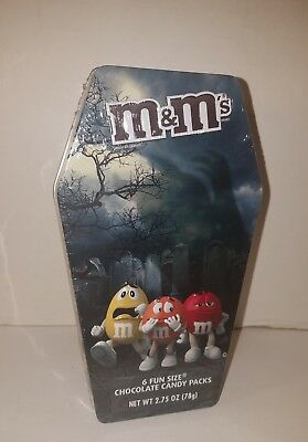 Collectible Halloween 2017 M&M Coffin Tin New Sealed Red Yellow Orange Candy