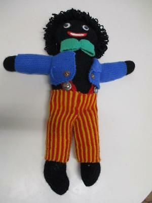 Old Hand Knitted Black Wool DOLL Stuffed & Soft 48cm Tall VGC